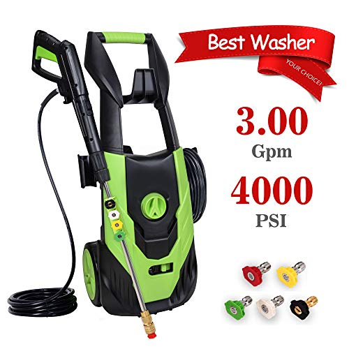 PowRyte Elite Electric Power Washer, Electric Pressure Washer with 5 Interchangeable Spray Tips,High Pressure Cleaner with Built-in Detergent Tank: 4000PSI 3.0 GPM (Green)