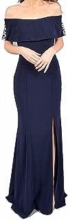 Women's Dress Gown Off-Shoulder Embellished Slit