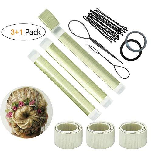 Sunnysam Set d'Outils de Coiffure Chignon Magique Bande de Chignon Bun Maker Set Accessoire de Cheveux pour Filles Femmes-3 Pack(Blanc)(Blanc)