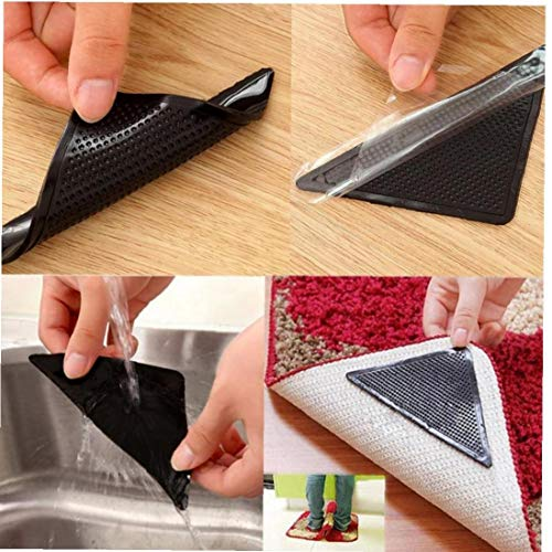 4Pcs nach Hause Fußboden Teppich Teppich Mat Grippers Selbstklebende Anti Slip Aufkleber Wiederverwendbare Waschbar Silikon Grip Aufkleber Pads Schwarz
