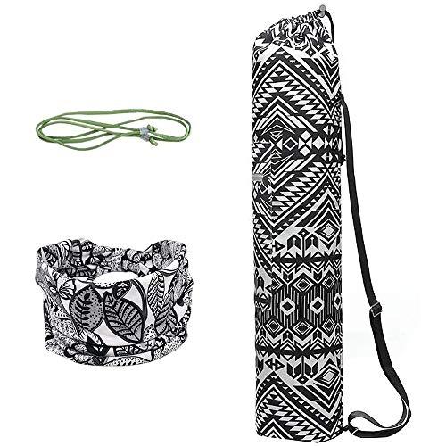 WANYIG Yogamattentasche aus Canvas Taschen für Yogamatten für Frauen Tragetasche Yogamatte mit Bedrucktes Haarband und Carry Sling(Farbe 5)