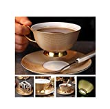 FAT BIG CAT Europe Noble Bone China Coffee Cup Saucer Spoon Set 200ml Luxury Ceramic Mug Top-Grade Porcelain Tea Cup Cafe Party Drinkware,Luxury Gold