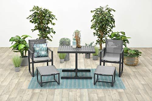 Garden Impressions 5-teiliges Luxus Balkonset Alabama, Aluminium Textilen