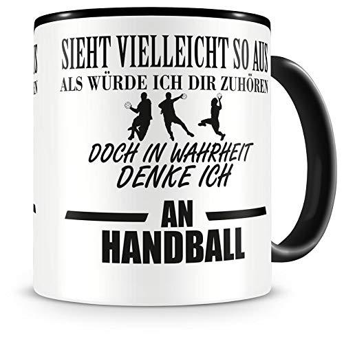 Samunshi® Ich denke an Handball Tasse Kaffeetasse Teetasse Kaffeepott Kaffeebecher Becher H:95mm/D:82mm schwarz