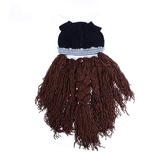 Kurphy Sombrero de Hombre Sombrero Hecho a Mano Divertido De Lana de Punto Decoración de Halloween Diseño de Barba Larga Gorros para Invierno