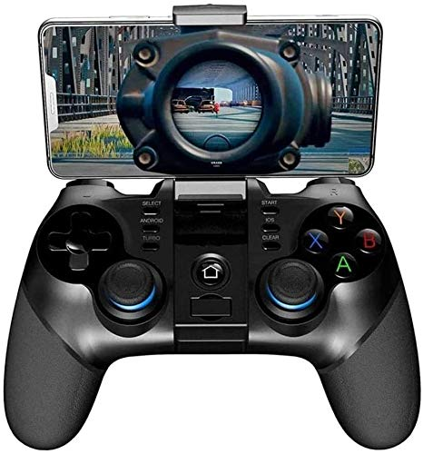 YUYANDE Gamepads de PC Controladores estándar, Controlador Bluetooth 4.0 Gamepad 2.4G Joystick Wireless Game con Stands telescópicos para TV Inteligente/teléfono Negro
