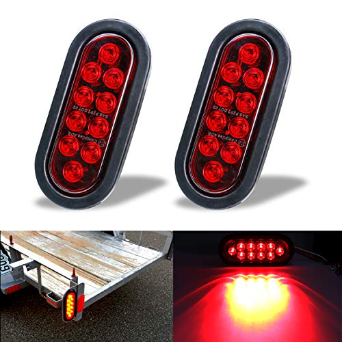 "LivTee Waterproof 6"" Oval Red LED Trailer Lights Tail Brake Stop Turn Parking Light Kit with Grommet and Plug for Boat Trailers RV Jeep Trucks, 2pcs"
