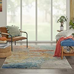 Polypropylene fibers ensure soft and plush touch This rug is stain resistant, fade resistant, No Shedding, and easy to clean Style: modern, Contemporary, colorful Pile Height is 0.5 inches. Machine Made This rugs general size: 5'x7' Room recommendati...