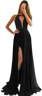 Women's High Neck Keyhole Front Lace Long Prom Dress W/ Slit Open Back Evening