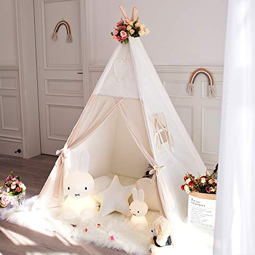 Tree Bud Kids Teepee Tent, Children Indian Play Tent with Window & Carry Case, 100% Cotton Canvas Tent & Pine Wood Poles for Indoor & Outdoor Room Decor
