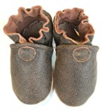 BASIC MOCS (distressed brown) Handmade in USA, All-Natural Leather Baby Shoes.