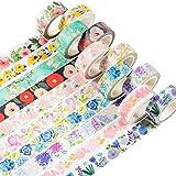 YUBBAEX Washi Tape Set cinta adhesiva decorativa Washi Glitter Adhesivo de Cinta Decorativa para DIY Crafts Scrapbooking (Edad de las Flores 10 Rollos)