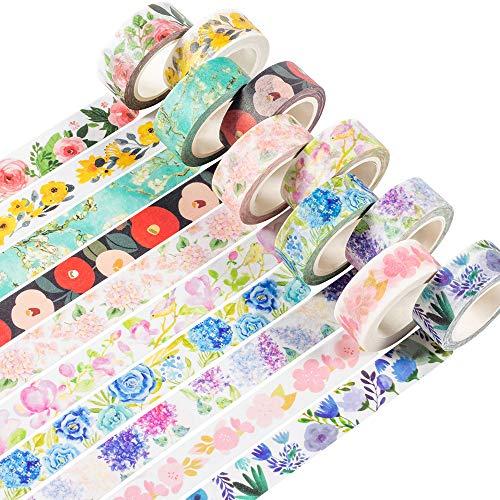 YUBBAEX Washi Tape Set 10 Rotoli nastro adesivo colorato colorato decorativo per Forniture Artigianali Fai da te e Decorazioni