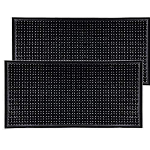 Yililay Rectángulo Mantel Duradero Antideslizante Estera de Tabla del PVC de Goma Bar Mat Multifuncional Mesa de Comedor Coaster Negro 2 Piezas