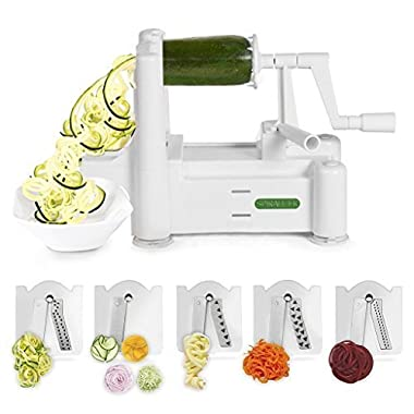 Spiralizer 5-Blade Vegetable Slicer, Strongest-and-Heaviest Duty Vegetable Spiral Slicer, Best Veggie Pasta Spaghetti Maker for Keto/Paleo/Gluten-Free, with Extra Blade Caddy & 4 Recipe Ebooks