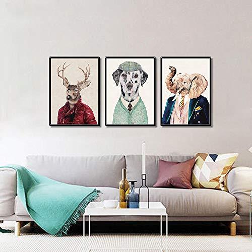 WADPJ Cartoon Animal Portret werkkleding kinderkamer muurkunst foto's posters moderne prints foto's voor de woonkamer kinderkamer decor-40x60cmx3 st. Geen lijst
