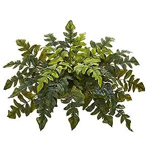 Silk Flower Arrangements Nearly Natural 32in. Holly Fern Artificial Ledge Silk Plants, Green