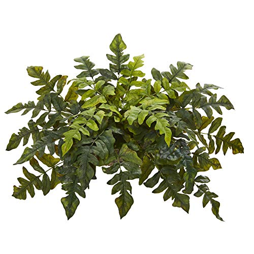 Nearly Natural 32in. Holly Fern Artificial Ledge Silk Plants, Green
