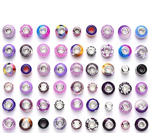 Sadingo Juego de perlas con agujeros grandes, color lila, 50 unidades, juego de perlas de colores para hacer joyas, perlas con agujero grande para enhebrar