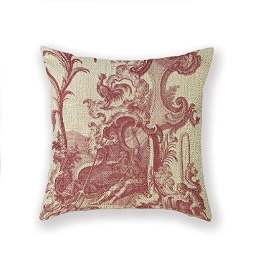 QDAS Funda de Almohada estándar Personalizada Colonial Country Toiledejouy French Throw Pillow Square Pillowcase Throw Pillow Cover Cushion
