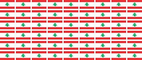 Mini Aufkleber Set - Pack glatt - 20x12mm - Sticker - Libanon - Flagge - Banner - Standarte fürs Auto, Büro, zu Hause & die Schule - 54 Stück