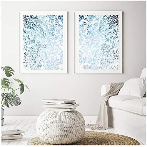 ZYHFBHFBH Cuadro en Lienzo Arte náutico Abstracto de la Pared Carteles e Impresiones del mar Azul Imágenes de la Ola oceánica para la decoración de la Sala de Estar 40x60cm (15.7'x23.6) x2 Sin Marco