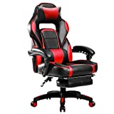 Merax High-Back Racing Home Office Chair, Ergonomic Gaming Chair with Footrest, PU Leather