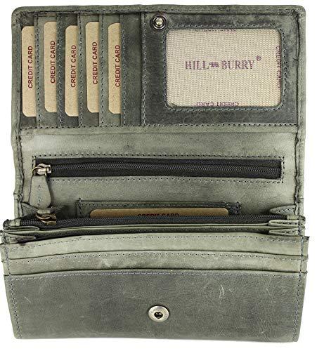 Hill Burry hochwertige Vintage Leder Damen Geldbörse Portemonnaie langes Portmonee Geldbeutel aus weichem Leder in grau - 17,5x10x3cm (B x H x T)