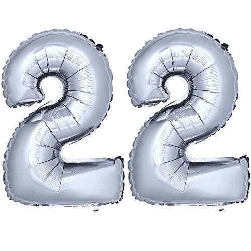 DekoRex® Folienballon Zahlenballon Luftballon Geburtstag Deko 80cm Zahl Silber 22