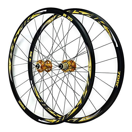 ZCXBHD 700C Bicicleta Carretera Juego De Ruedas Delantera Trasero Rueda Camino De Ciclocross Freno Disco Rueda V/C Freno Liberación Rápida 7 8 9 10 11 Velocidad 24 Orificios (Color : Gold)
