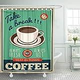 shenguang Tenda da Doccia Cafe Vintage Coffee Retro 1960s Cup Sign 1950S Tessuto in Poliestere Impermeabile 72 x 72 Pollici con Ganci