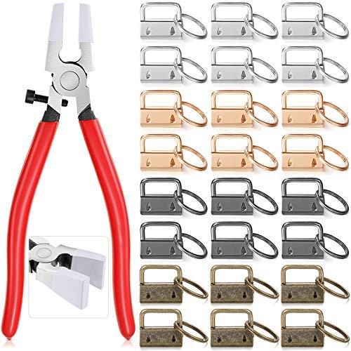 80 pezzi portachiavi hardware portachiavi e 1 portachiavi pinze in vetro con custodia protettiva per portachiavi, portachiavi e accessori per montaggio a chiave in 4 colori