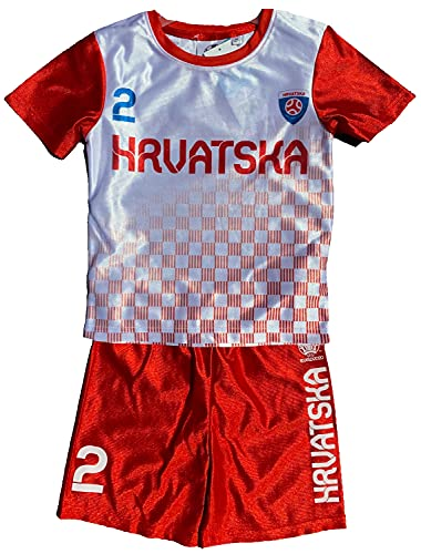 TVM Europe Kroatien Trikotset Fußball HRVARSKA Länder Kinder Jungen + Mädchen Alter 5 6 7 8 9 10 11 12 JahreTrikot + Hose Rot - Blau Gr.116 128 140 152 (116)