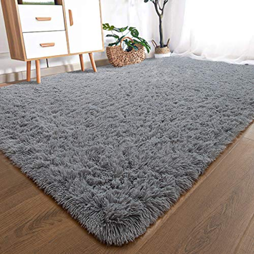 YOH Modern Soft Shaggy Fur Area Rug Fluffy Bedroom Rugs, Non-Slip Indoor Comfy Plush Accent Rug for Living Room Dorm Kids Boys Girls Room Luxury Furry Baby Nursery Decor Floor Carpet, 5x8 Feet Grey