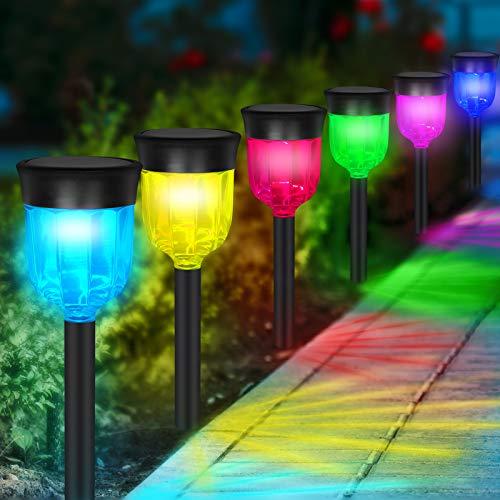 ガーデンライト 屋外 ソーラーライト RGB雰囲気ライト 多色変化 7色 自動点灯 太陽光パネル充電 IP65防水 景観照明 LEDライト 取付簡単 (マルチカラー6本入り) (6個/セット)
