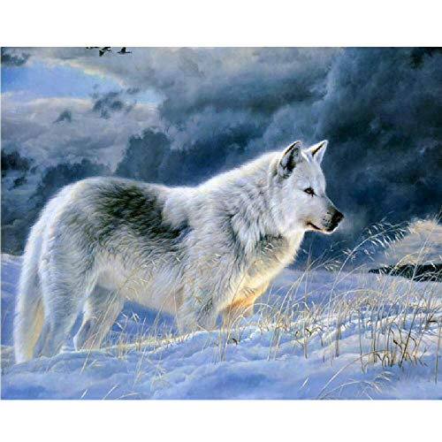 5D Diy Diamond Painting By Number Kits Lonely Snow Wolf Round Full Drill Embroidery Cross Stitch For Home Wall Decor Valentine'S Day Present 30x40cm