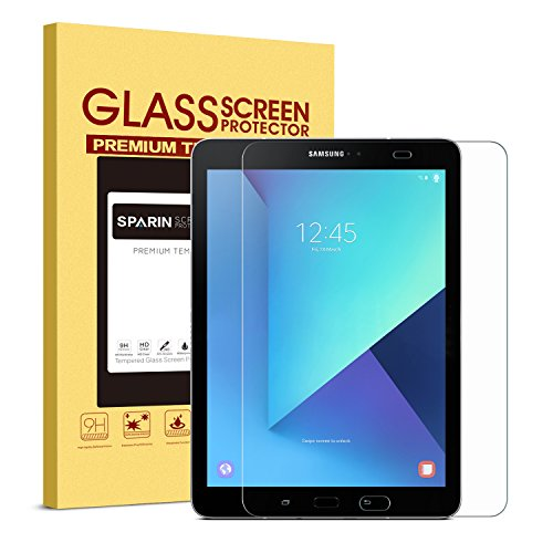 SPARIN Galaxy Tab S3 / Galaxy Tab S2 9.7 Screen Protector - S Pen Compatible / Tempered Glass / 2.5D Round Edge / Scratch Resistant / Easy Install for Samsung Galaxy Tab S3 / Galaxy Tab S2 9.7 Inch