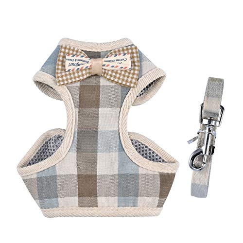 April Pets Comfortable Stylish Cotton Dog & Cat Harness Leash Set for Small Puppies and Cats (S, Grey & Peachy Plaids)