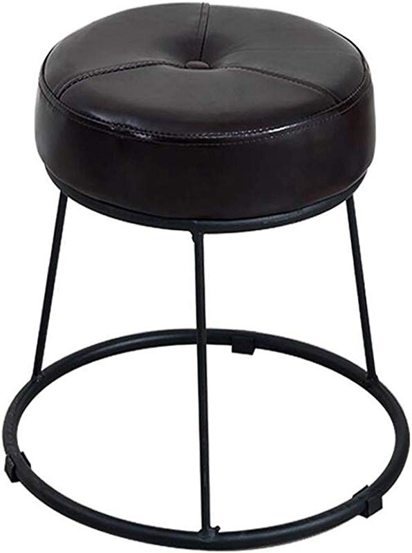 Iron Art Round Footstool Upholstered Ottoman Change Shoe Stool Luxury Dining Chair Dressing Stool With PU Leather Cover Black Size High46 5cm