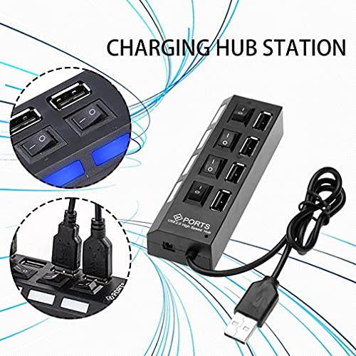 AMASTORE 4 Port USB Hub with ON Off Switches Extension Super Speed Portable for Laptop Notebook PC Mobiles Tablets Computers MP3 Players and Gaming Consoles