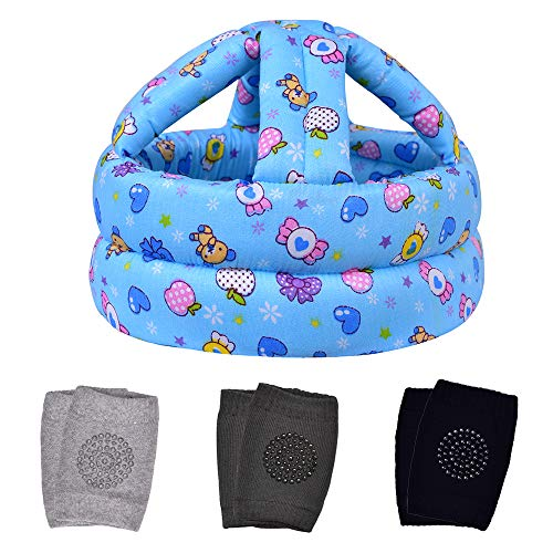 TORASO Baby Head Protector & Baby Knee Pads for Crawling,Infant Safety Helmet & Walking Baby Helmet,for Age 6-36 Months, Blue Candy(A)