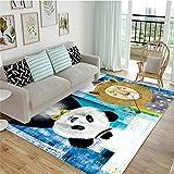 Alfombra Moderna de Pelo Corto, para salón Dormitorio baño sofá Silla cojín Animal Print de Dibujos Animados Multicolor Azul Blanquecino 140X200CM(4.6ft x 6.5ft)