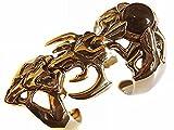 「金色の超ハード系アーマーリング ブラックストーン ブラス真鍮製」の画像