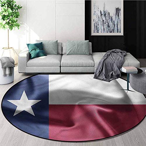 Western Luxury Round Area Rugs,State of Texas Flag Freedom Super Soft Living Room Bedroom Home Shaggy Carpet Round-55