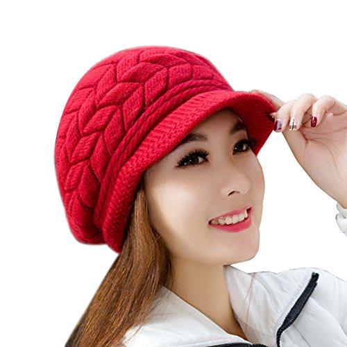 YWLINK Damen Mode Frauen Hut Winter Skullies MüTzen Gestrickt HüTe Hase Fell Kappe BommelmüTze(Einheitsgröße,Wassermelone rot)