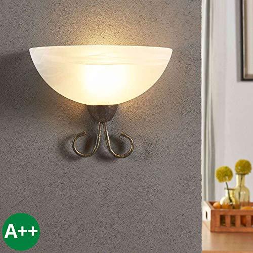 Lindby Wandleuchte, Wandlampe Innen 'Castila' dimmbar (Landhaus, Vintage, Rustikal) in Weiß aus Glas u.a. für Wohnzimmer & Esszimmer (1 flammig, E27, A++) - Wandfluter, Wandstrahler, Wandbeleuchtung