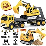 Flatbed Truck w/ Excavator Tractor - 1:12 Scale Large Size Toys - Push and Go Toy Trucks, Construction Trucks for Toddlers, Boys and Girls, Realistic Push & Pull Friction Truck w/ Lights and Sounds