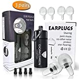 DONSGHEN High Fidelity Ear Plugs for Concerts,Musicians, Motorcycles,Noise Cancelling and More(Fits Small Medium Large)-Alarm Remains Audible