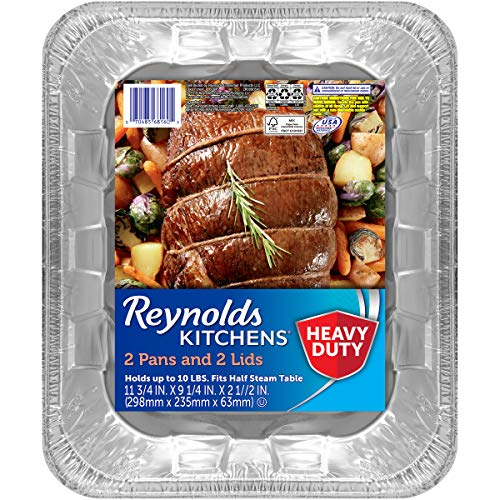 Reynolds Kitchens Heavy Duty Aluminum Pans for Roasting with Lids, 12x9 Inch, 2 Count (Pack of 3), 6 Total