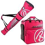 BRUBAKER Conjunto 'Super Champion 2.0' Bolsa para Botas y Casco de ski Junto a 'Carver Champion 2.0' Bolsa para un par de Ski - Rosa/Blanco - 170 cms.